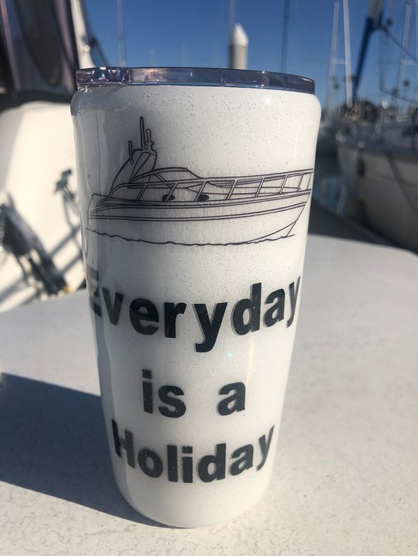 Fully customizable tumblers, you can choose between a wide variety of boat images including motor yachts, motohulls, catamarans, express cruisers, flybridges, runabouts, and sport fishers. You can also choose the color of the tumbler, add glitter, and add custom text